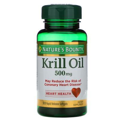 Масло криля, Krill Oil, Nature's Bounty, 500 мг, 30 быстро высвобождаемых мягких капсул