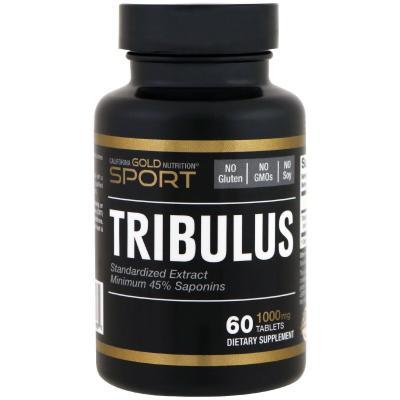 Трибулус, Tribulus, California Gold Nutrition, стандартизированный экстракт, 45% сапонинов, 1000 мг, 60 таблеток