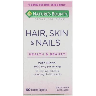Витамины для волос, кожи и ногтей, Hair, Skin & Nails, Nature's Bounty, 60 таблеток