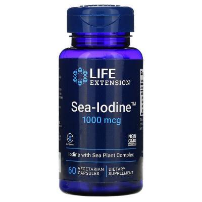 Морской йод, Sea-Iodine, Life Extension, 1000 мкг, 60 вегетарианских капсул