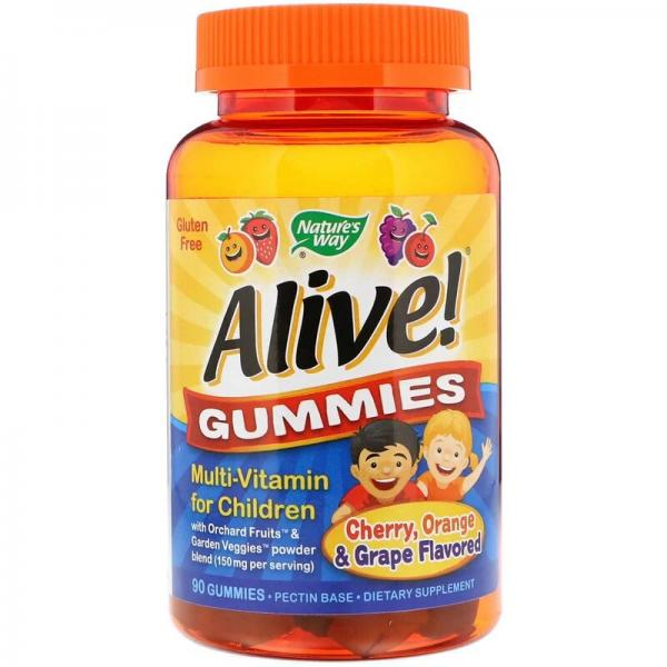 Мультивитамины для детей, со вкусом вишни, апельсина и винограда, Alive! Nature's Way, 90 жевательных конфет