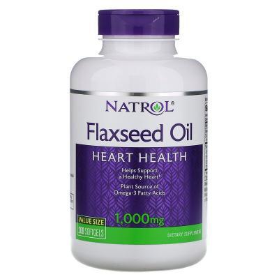 Льняное масло, здоровье сердца, Flaxseed Oil, Natrol, 1000 мг, 200 мягких таблеток