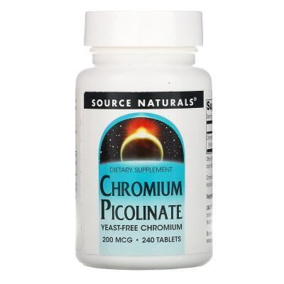 Хром пиколинат, Chromium Picolinate, Source Naturals, 200 мкг, 240 таблеток