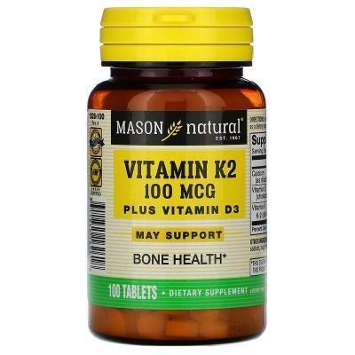 К2 и Д3, Vitamin K2 Plus Vitamin D3, Mason Natural, 100 мкг, 100 таблеток