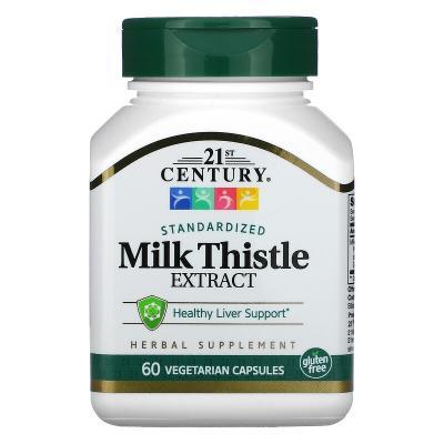 Стандартизированный экстракт расторопши, Milk Thistle, 21st Century, 60 вегетарианских капсул
