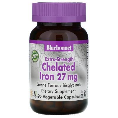 Хелатное железо усиленного действия, Chelated Iron, Bluebonnet Nutrition, 27 мг, 90 растительных капсул