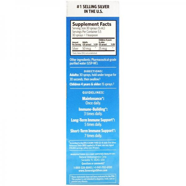 Серебро, Bio-Active Silver Hydrosol, мелкодисперсный аэрозоль, Sovereign Silver, 10 част./млн, 29 мл
