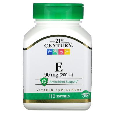 Витамин E, Vitamin E, 21st Century, 90 мг (200 МЕ), 110 капсул
