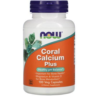 Кальций из кораллов плюс, Coral Calcium Plus, Now Foods, 100 растительных капсул