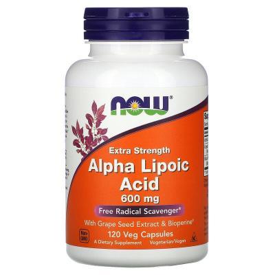 Альфа-липоевая кислота, усиленное действие, Extra Strength Alpha-Lipoic Acid, Now Foods, 600 мг, 120 капсул