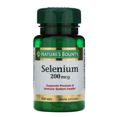 Селен, Selenium, Nature's Bounty, 200 мкг, 100 таблеток