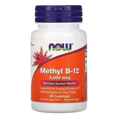 Витамин В12, Methyl B-12, Now Foods, 5000 мкг, 60 пастилок