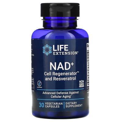 Регенератор клеток NAD + и ресвератрол, NAD+ Cell Regenerator and Resveratrol, Life Extension, 30 вегетарианских капсул