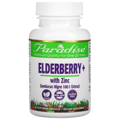 Смесь земляники, бузина с цинком, Earth's Blend, Elderberry+ with Zinc, Paradise Herbs, 60 вегетарианских капсул