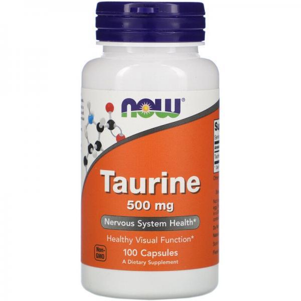 Таурин, Taurine, Now Foods, 500 мг, 100 капсул