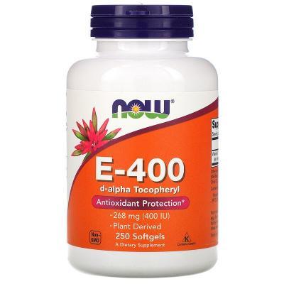 Витамин E-400, Vitamin E, Now Foods, 268 мг (400 МЕ), 250 капсул
