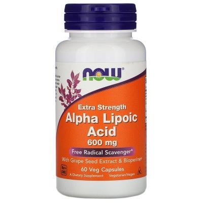 Альфа-липоевая кислота, усиленное действие, Extra Strength Alpha-Lipoic Acid, Now Foods, 600 мг, 60 капсул