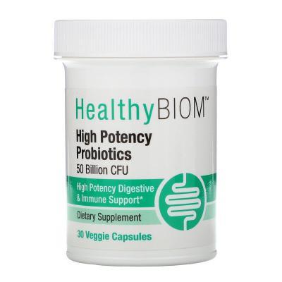 Высокоэффективные пробиотики, High Potency Probiotics, HealthyBiom, 50 млрд КОЕ, 30 растительных капсул