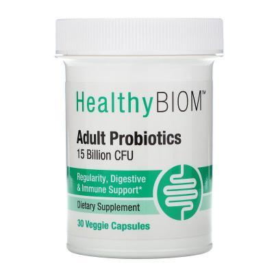 Пробиотики для взрослых, Adult Probiotics, HealthyBiom, 15 млрд КОЕ, 30 растительных капсул