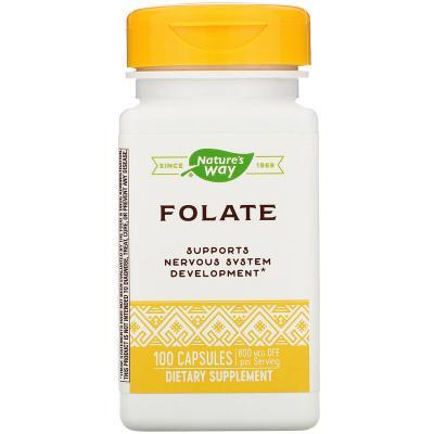 Фолат, Folate , Nature's Way, 800 мкг, 100 капсул