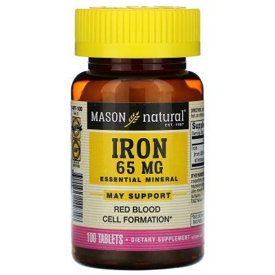 Железо, Iron, Mason Natural, 65 мг, 100 таблеток