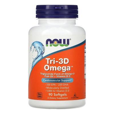 Рыбий жир в капсулах + Д3, Tri-3D Omega, Now Foods, 90 капсул