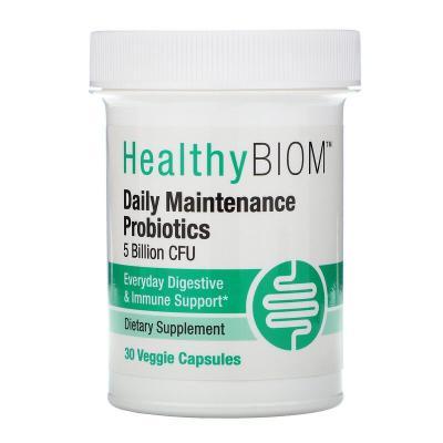 Пробиотики ежедневного обслуживания, Daily Maintenance Probiotics, HealthyBiom, 5 млрд КОЕ, 30 растительных капсул