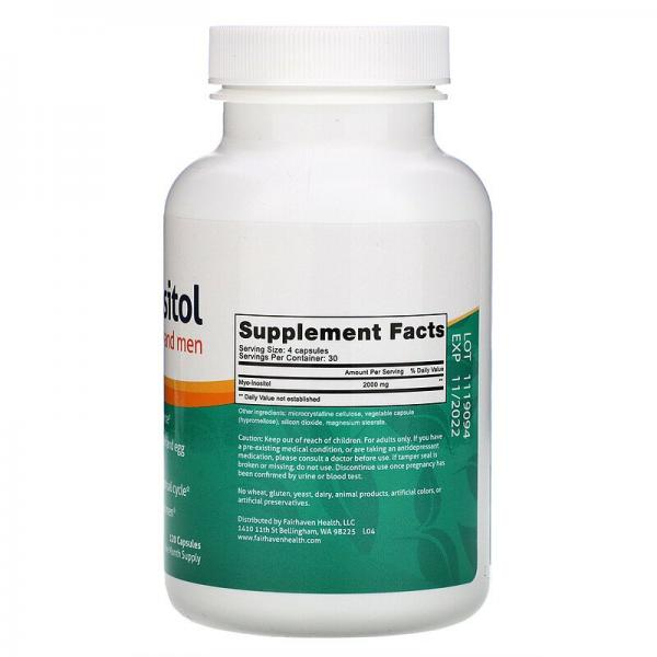 Мио-Инозитол, для женщин и мужчин, Myo-Inositol, Fairhaven Health, 120 капсул