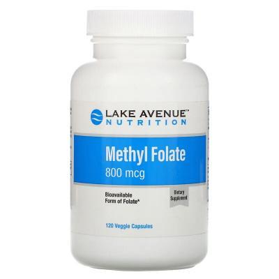 Фолиевая кислота, Methyl Folate, Lake Avenue Nutrition, 800 мкг, 120 капсул