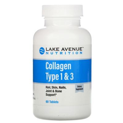 Гидролизованный коллаген типа 1 и 3, Lake Avenue Nutrition, 1000 мг, 60 таблеток