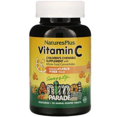 Витамин С, Children's Chewable Vitamin C, Nature's Plus, Animal Parade, апельсиновый вкус, 90 жевательных конфет