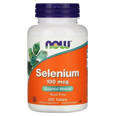 Селен, Selenium, Now Foods, без дрожжей, 100 мкг, 250 таблеток