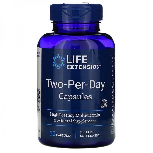 Витаминный комплекс, 2 в день, Two-Per-Day Tablets, Life Extension, 60 капсул