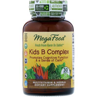 Детский В-Комплекс, Kids B Complex, MegaFood, 30 таблеток