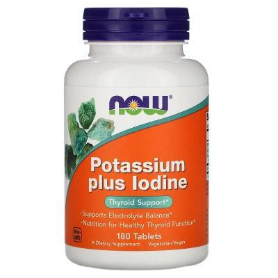 Йодид калия, Potassium Plus Iodine, Now Foods, 225 мкг, 180 таблеток