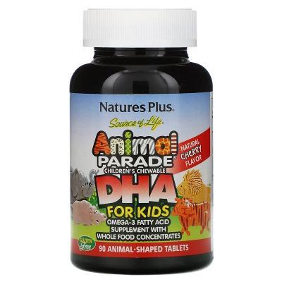 ДГК для детей, вишневый вкус, Source of Life, Animal Parade, Nature's Plus, 90 таблеток в форме животных