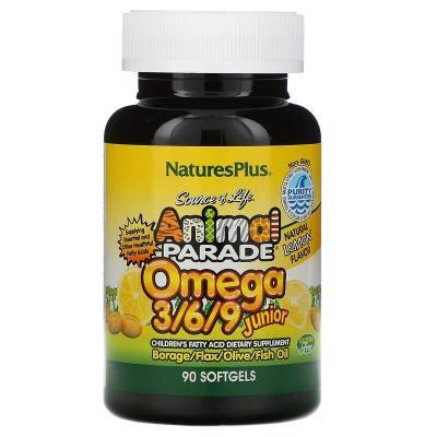 Омега 3/6/9 юниор, вкус лимона, Omega 3/6/9 Junior, Nature's Plus, Source of Life, Animal Parade, 90 капсул