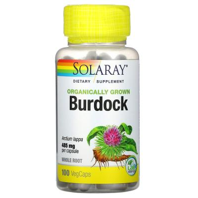 Органически выращенный лопух, Organically Grown Burdock Root, Solaray, 485 мг, 100 капсул