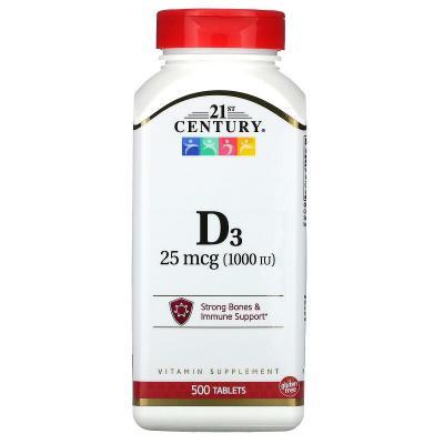 Витамин D3, Vitamin D3, 21st Century, 25 мкг (1000 МЕ), 500 таблеток