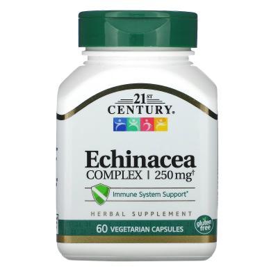 Экстракт эхинацеи, Echinacea, 21st Century, 250 мг, 60 капсул