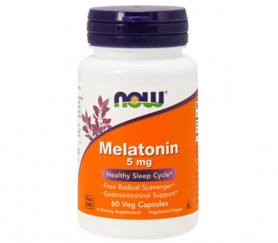 Мелатонин, Melatonin, Now Foods, 5 мг, 60 капсул