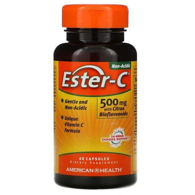 Эстер-С с цитрусовыми биофлавоноидами, Ester-C, American Health, 500 мг, 60 капсул