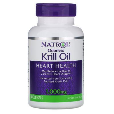 Жир криля без запаха, Odorless Krill Oil, Natrol, 1000 мг, 60 мягких таблеток