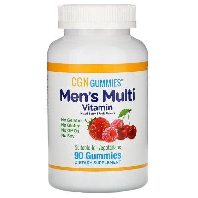 Мультивитамины для мужчин со вкусом органических ягод и фруктов, Men's Multi Vitamin, California Gold Nutrition, 90 жевательных таблеток