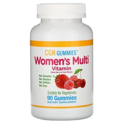 Мультивитамины для женщин со вкусом органических ягод и фруктов, Women's Multi Vitamin, California Gold Nutrition, 90 жевательных таблеток