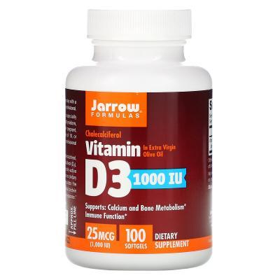 Витамин Д3 (холекальциферол), Vitamin D3, Jarrow Formulas, 1000 МЕ, 100 капсул