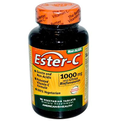 Эстер-С, Ester-C, American Health, 1000 мг, 90 вегетарианских таблеток