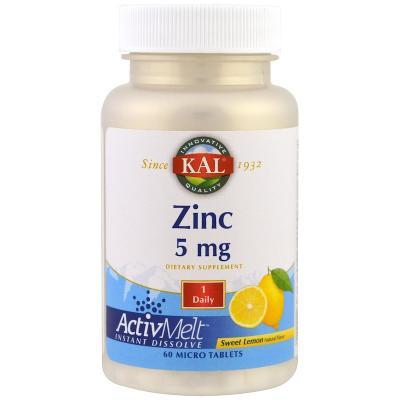 Цинк вкус лимона, Zinc, KAL, 5 мг, 60 таблеток