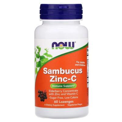 Цинк с витамином С и бузиной, Sambucus Zinc-C, Now Foods, 60 пастилок