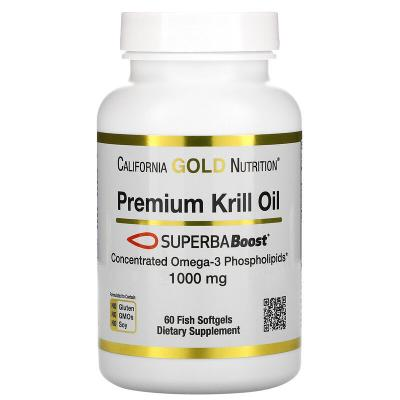 Масло криля премиального качества, Premium Krill Oil, SUPERBABoost®, California Gold Nutrition, 1000 мг, 60 капсул